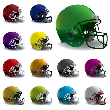 様々 な色のアメリカン フットボール用ヘルメットのイラスト。EPS の 10 が利用できます。EPS には、グラデーション メッシュが含まれています。