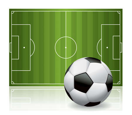 A soccer ball football and field isolated on white illustration. Vector EPS 10 available. EPS file contains a gradient mesh. Vector