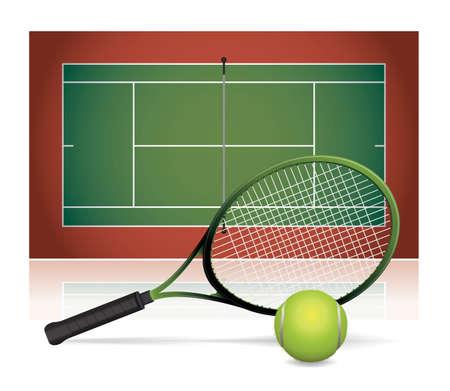 Een illustratie van een tennisbaan met een tennisracket en een tennisbal. Vector EPS-10 beschikbaar. Stock Illustratie