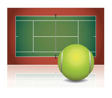 Een illustratie van een tennisbaan met een tennisbal. Vector EPS-10 beschikbaar.