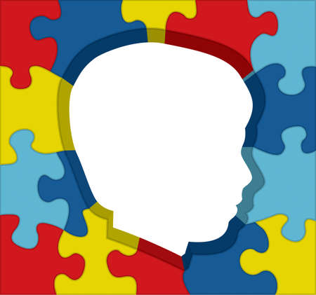 An illustration for autism awareness of colorful puzzle pieces outlining a childs silhouette. Vector EPS 10 available. Illustration