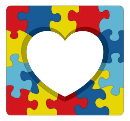 自閉症の意識の象徴的なパズルの中心イラスト。ベクトル EPS 10 利用できます。
