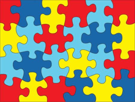 piezas de puzzle: Un colorido conciencia del autismo ilustraci�n de fondo rompecabezas. Vector EPS 10 disponible. Vectores