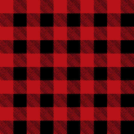 A flannel pattern illustration in red in black. Pattern can be tiled seamlessly. Vector EPS 10 available.