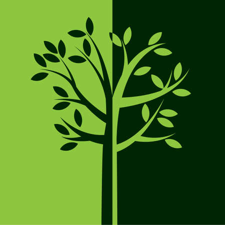 An illustration of a simple tree with leaves and branches in reversed green colors. Vector EPS 10 available.
