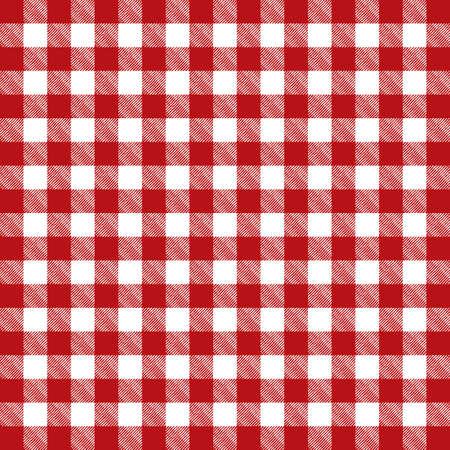 赤色の格子縞のパターン テーブル クロスのイラスト。ベクター EPS 10 利用できます。  イラスト・ベクター素材