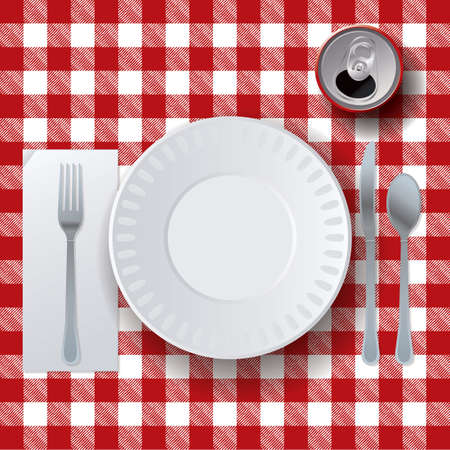 An illustration of a picnic tablecloth, placesetting, and soda. Vector EPS 10 available.
