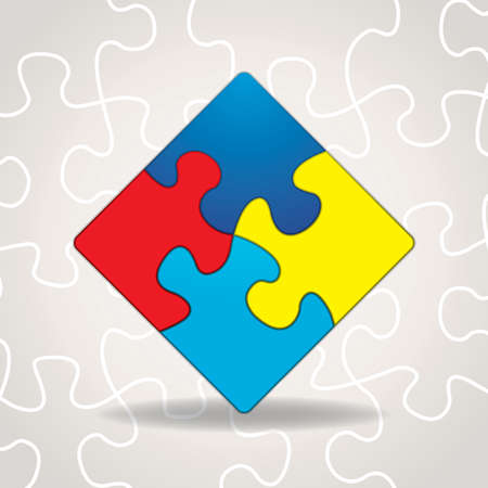An illustration of puzzle pieces with symbolic autism awareness colors and shapes. Gradient mesh in vector dropshadow. Illustration