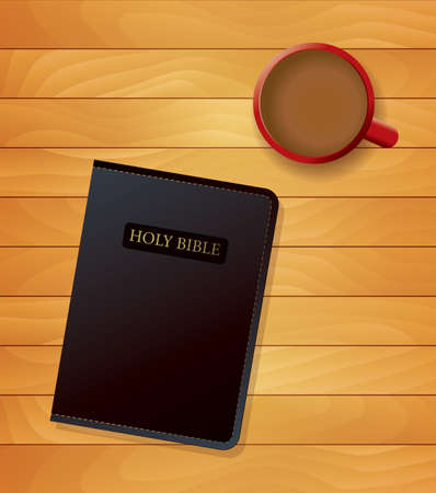 devotional: An illustration of a cup of coffee and a bible sitting on wood. Religious devotional concept. Vector EPS 10 available.