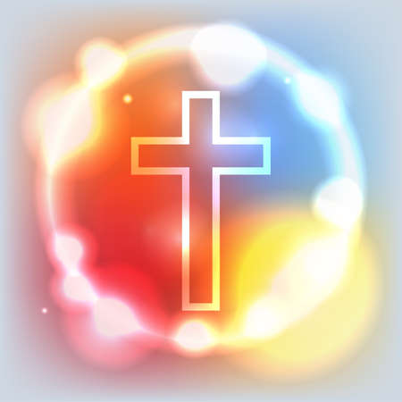 catholicism: An illustration of a cross sorrounded by an abstract glow. contains transparencies and a gradient mesh.