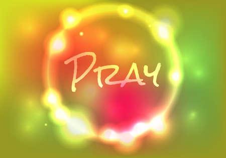 """부드러운 추상적 인 빛 그림에 쓰여진 단어 """"PRAY"""". 파일은 투명과 그라디언트 메쉬를 포함합니다."""