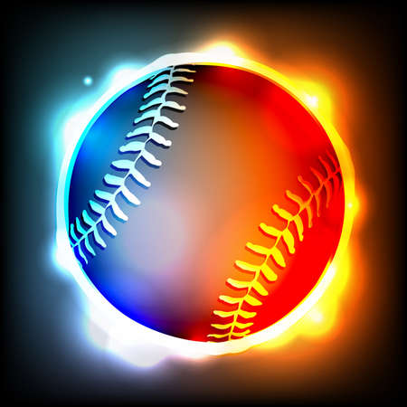homerun: A flying glowing baseball illustration.