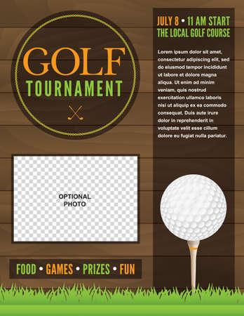 Een illustratie voor een golftoernooi.