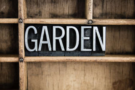 The word GARDEN written in vintage metal letterpress type in a wooden drawer with dividers. photo