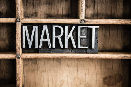 The word MARKET written in vintage metal letterpress type in a wooden drawer with dividers. Stock Photo
