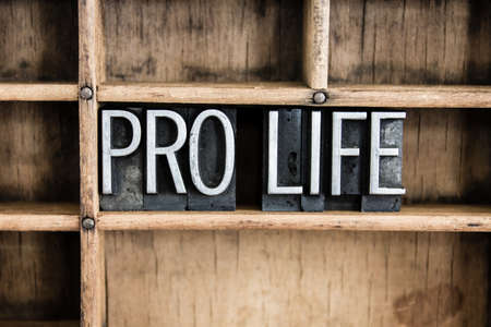 letterpress words: The words PRO LIFE written in vintage metal letterpress type in a wooden drawer with dividers. Stock Photo