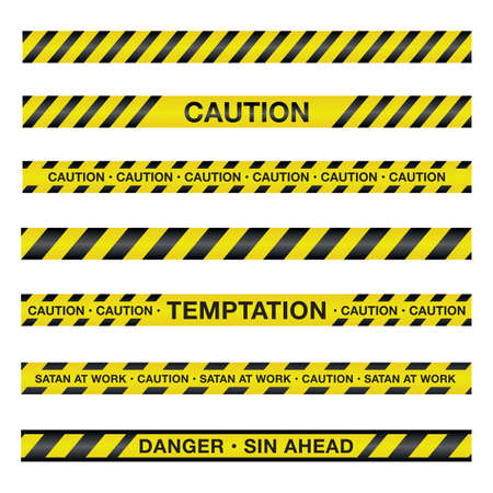 An illustration of police tape with a spiritual theme. Vector EPS 10 available.