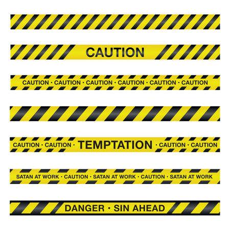 escena del crimen: Una ilustraci�n de cinta de la polic�a con un tema espiritual. Vector EPS 10 disponible.