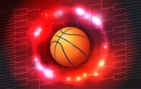 カラフルなバスケット ボール トーナメント ボールとラケットのイラスト。ベクトル EPS 10 利用できます。EPS ファイルには透明度とグラデーション