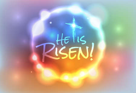 church service: An illustration for Easter Jesus has risen theme. Vector EPS 10 available. EPS contains transparencies and a gradient mesh.