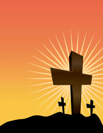 golgotha: An illustration of Christian crosses silhouetted against a sunrise. Vector EPS 10 available.