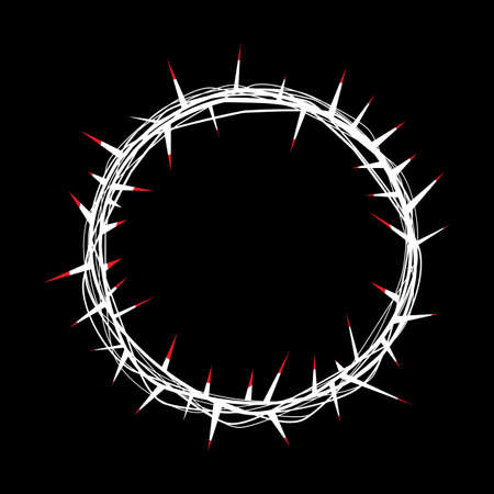 adorned: An illustration of a symbolic crown of thorns adorned by Christ with His red blood. Vector EPS 10. Illustration