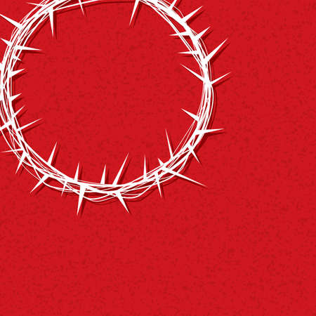 An illustration of a crown of thorns worn by Jesus Christ over a texture red background. Vector EPS 10 available.