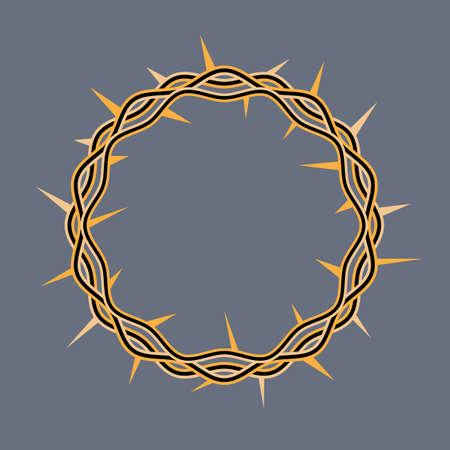 Een illustratie van een kroon van doornen versierd door Jezus Christus bij zijn kruisiging. Vector EPS-10 beschikbaar. Stock Illustratie