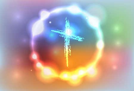 pasqua cristiana: Un esempio di una croce disegnata a mano, circondato da uno sfondo astratto incandescente. Vector EPS 10 disponibili. File EPS contiene trasparenze e una maglia di gradiente.