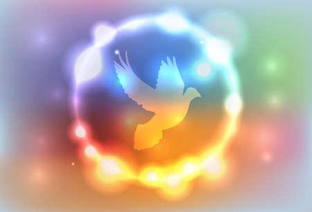 다채로운 추상 빛나는 조명에 둘러싸인 비둘기의 그림. 벡터는 사용할 EPS 10. EPS 파일은 투명하고 그라디언트 메쉬가 포함되어 있습니다. 일러스트