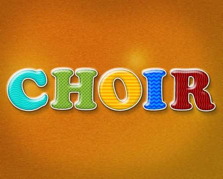 coro: La palabra CORO escrito en modelos y colores llamativos.