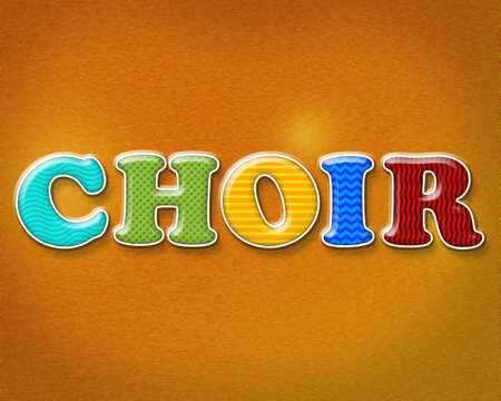 The word CHOIR written in bright patterns and colors.