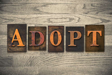 The word ADOPT theme written in vintage, ink stained, wooden letterpress type on a wood grained background. theme written in vintage, ink stained, wooden letterpress type on a wood grained background. 版權商用圖片