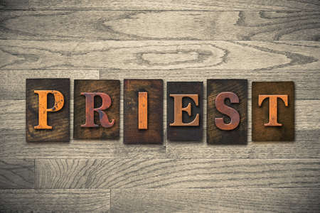 pontiff: The word PRIEST theme written in vintage, ink stained, wooden letterpress type on a wood grained background.