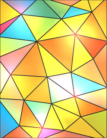 A colorful background illustration of abstract triangles in blue, pink, orange, yellow, turquoise, purple, green and red.  Ilustração