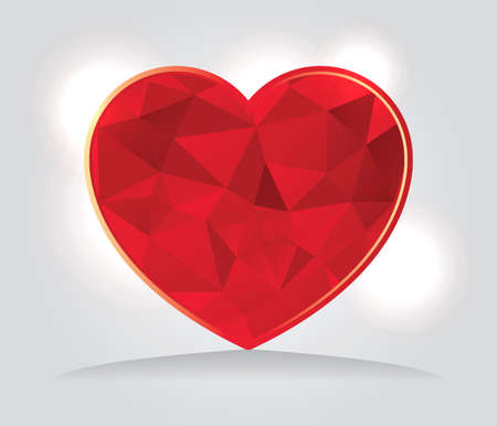 An illustration of abstract geometric red triangles forming a heart shape.