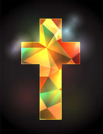 An illustration of a colorful stained glass Christian cross on a black back lit background.
