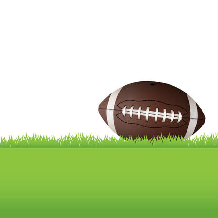 An illustration of an American Football laying on green grass.  Vector