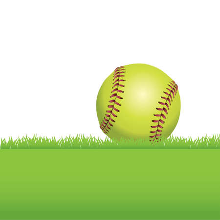 An illustration of a realistic softball sitting on green grass. Room for copy.