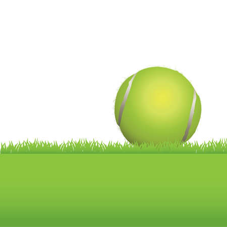 realism: An illustration of a tennis ball sitting in a grass background.