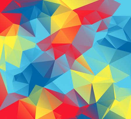 赤、黄、オレンジ、青の三角形の抽象的なカラフルな背景。これらは、自閉症意識の色です。
