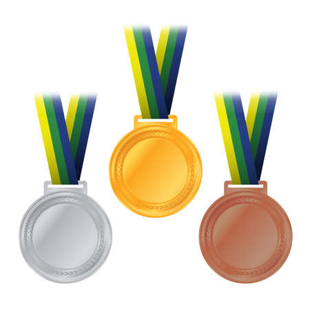 An illustration of gold, silver, and bronze medals and ribbons with Brazil colors.
