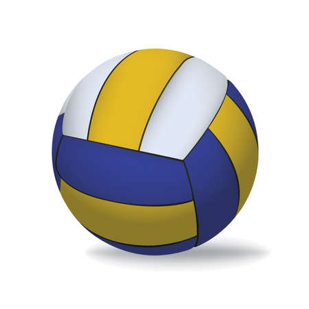 A blue, yellow, and white realistic 3D volleyball