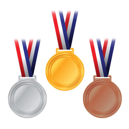 An illustration of gold, silver, and bronze competition medals with American flag colored ribbon. Иллюстрация
