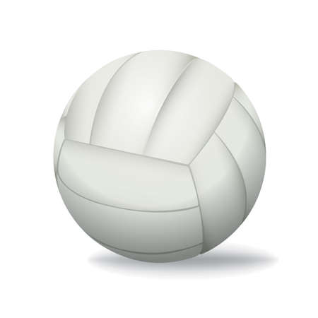volleyball serve: Un voleibol blanco realista aislado en un fondo blanco ilustraci�n. Vectores