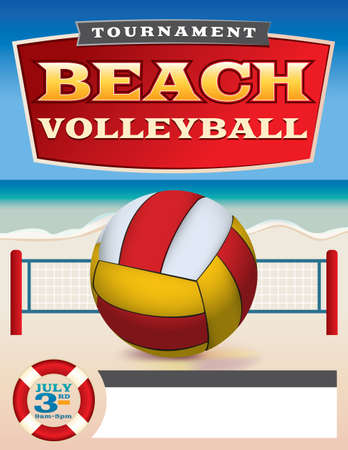 A flyer or poster template for a beach volleyball tournament. Vector EPS 10 illustration available. EPS file contains transparencies and a gradient mesh. All type has been converted to outlines in the EPS. Vector