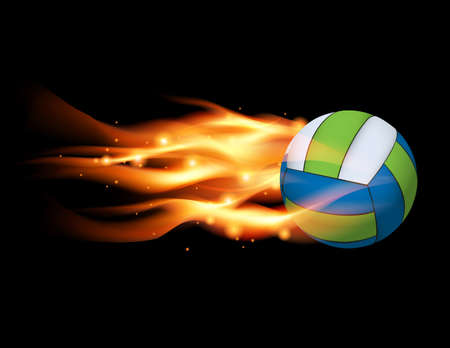embers: A flying volleyball with a flaming fire tail illustration. Vector EPS 10 available. EPS file contains transparencies and a gradient mesh.