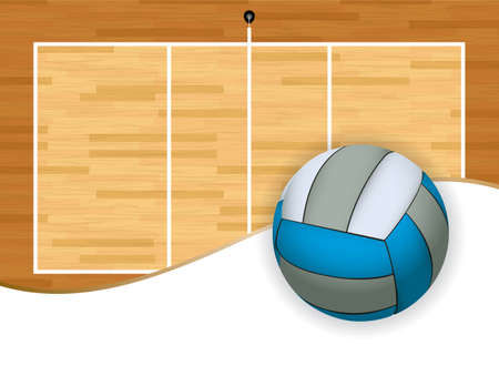 A volleyball and volleyball court background illustration. Room for copy. Vector EPS 10 available.