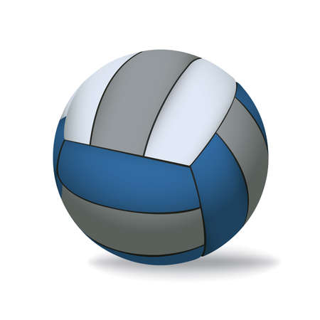 A blue, grey, and white realistic 3D volleyball isolated on a white background illustration. Vector EPS 10 available. EPS file contains transparencies. Gradient mesh in dropshadow only. Illustration