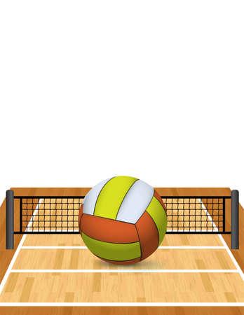 voleibol: Una ilustración de una pelota de voleibol realista sobre una cancha de voleibol, con copia espacio. Vector EPS 10 disponible. EPS contiene una malla de degradado.